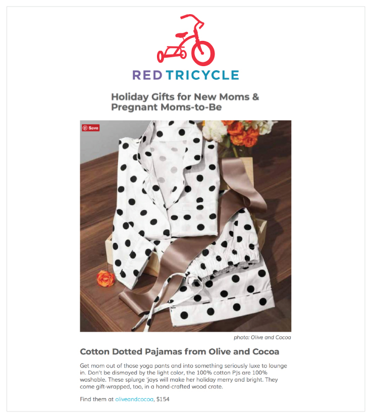 Red Tricycle featured Olive & Cocoa's Dotted Pajamas