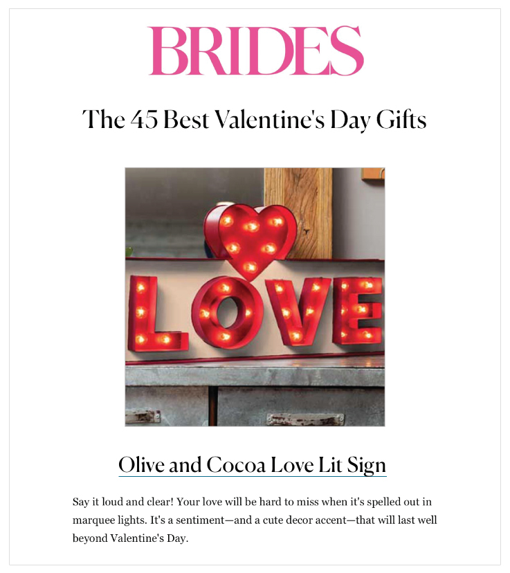 Our Love Lit Sign was Featured on Brides.com
