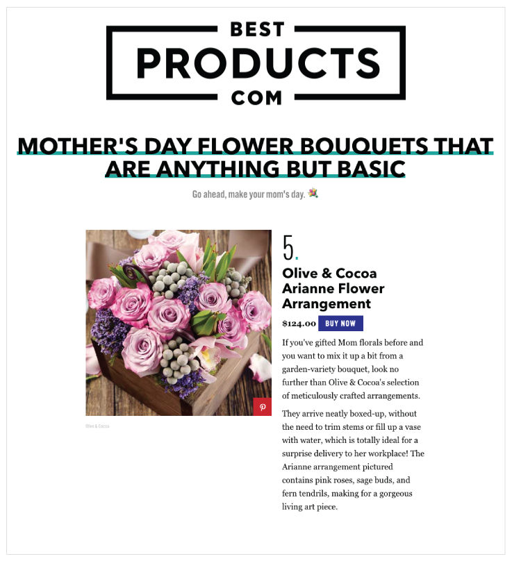 As Seen In BestProducts.com: Olive & Cocoa