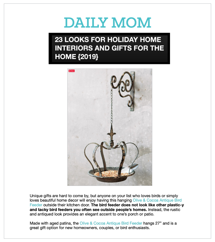 Our Antique Crown Bird Feeder was Featured on DailyMom.com
