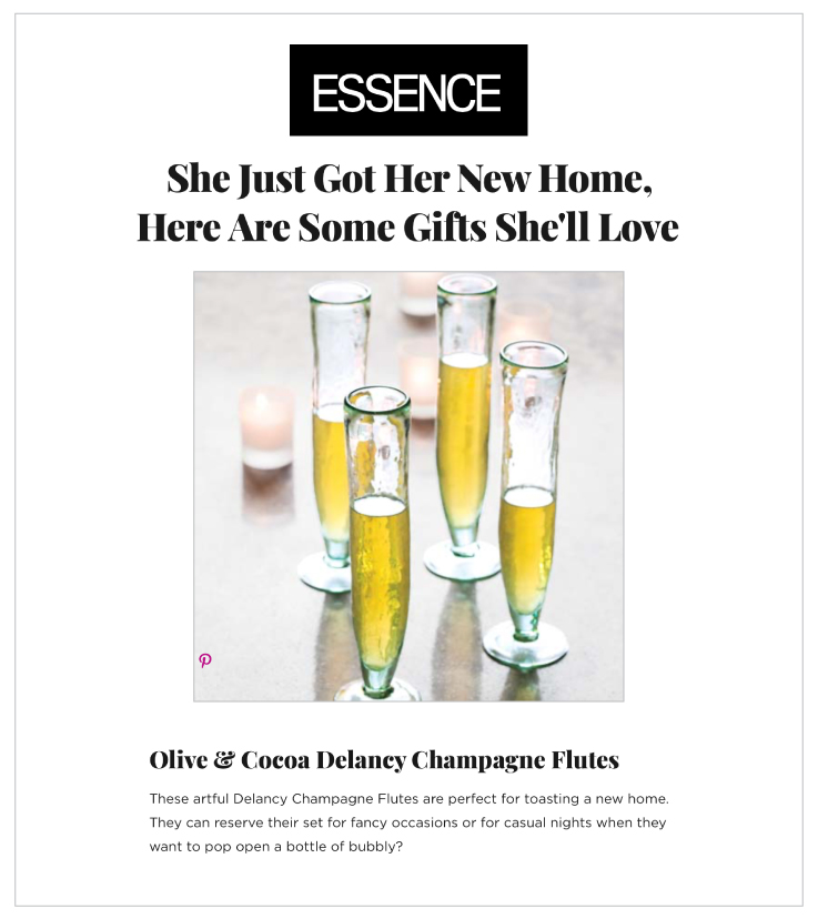 Our Delancy Champagne Flutes Highlighted on Essence.com