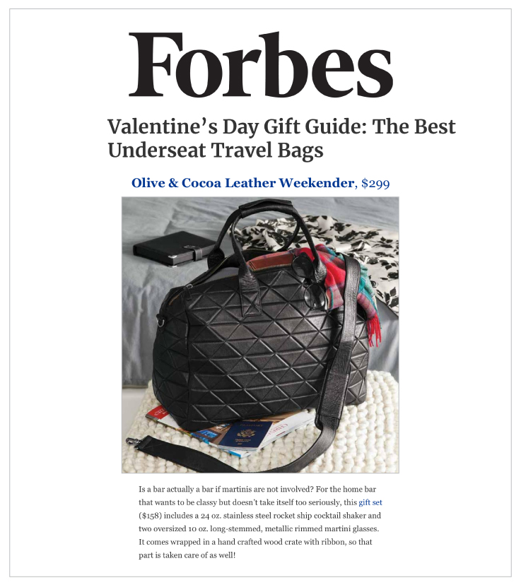 Our Leather Weekender Bag was Featured on Forbes.com