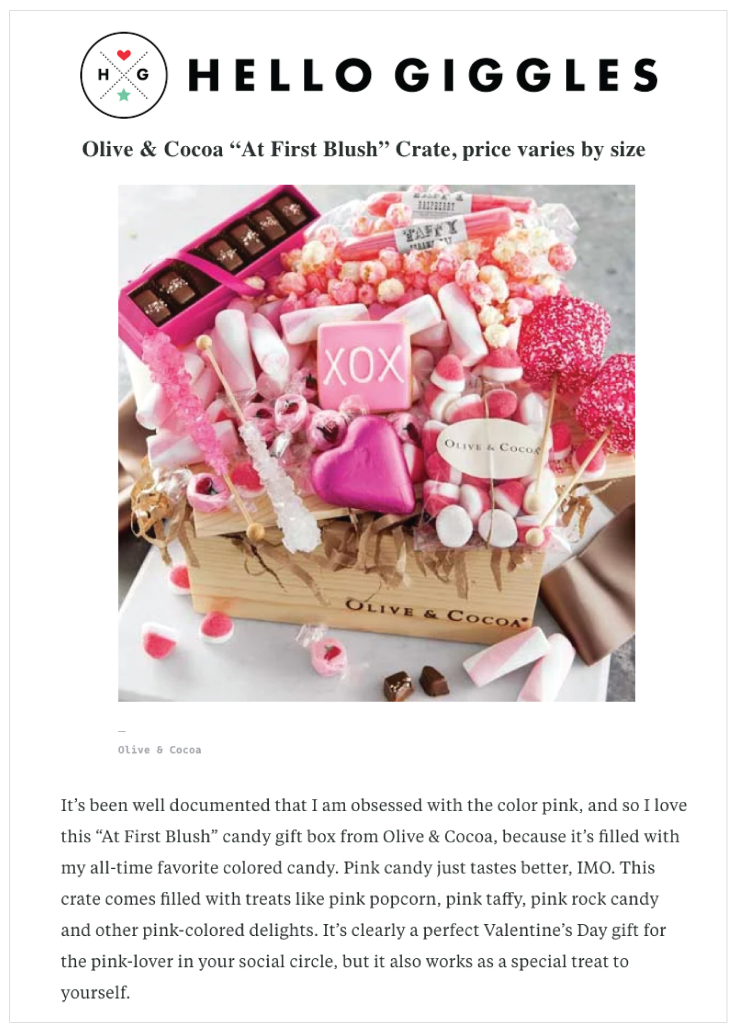 Olive & Cocoa highlighted in Hello Giggles