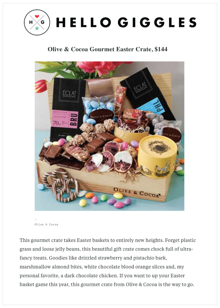 Our Gourmet Easter Crate was Featured on Hello Giggles