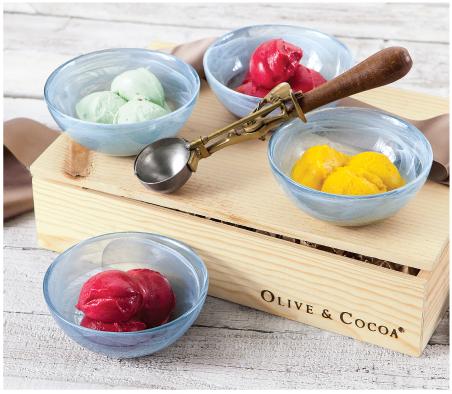 Swirled Ice Cream Bowls & Old Fashioned Scoop