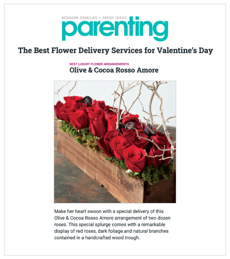 Our Rosso Amore arrangement was Featured on Parenting.com