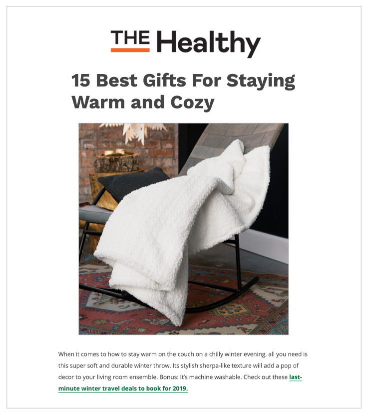 Our Snowy Luxe Winter Throw was featured in TheHealthy.com
