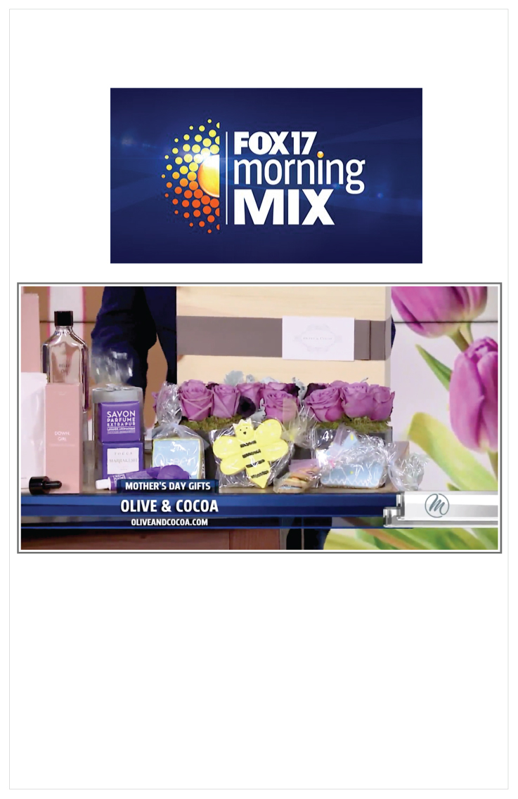 As seen on FOX 17 Morning Mix: Olive & Cocoa