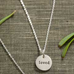 """""""Loved"""" Silver Circle Necklace"""