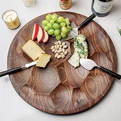 Carved Walnut Tray & Serving Set