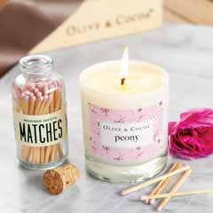 Olive & Cocoa Peony Candle & Matches