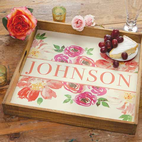 Floral Personalized Serving Tray
