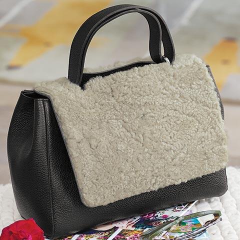 Blanc & Noir Shearling Bag