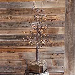 Frosty Pinecone Lit Tree