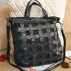 Noir Woven Leather Tote