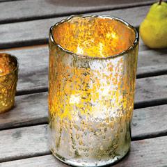 Silvered Hurricane Candle