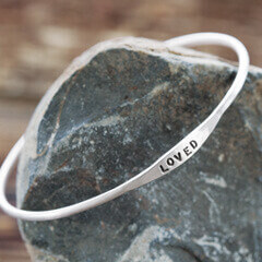 """""""Loved"""" Silver Bangle"""