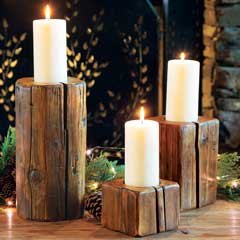 Recycled Wood Candle Pillars