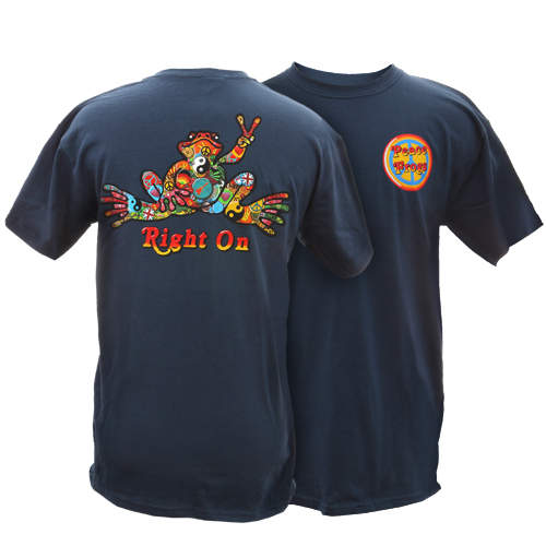 Peace Frogs Adult Button Frog Short Sleeve T-Shirt