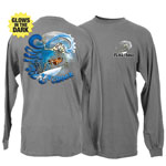 Peace Frogs Surf Croak Frog Adult Long Sleeve Garment Dye T-Shirt