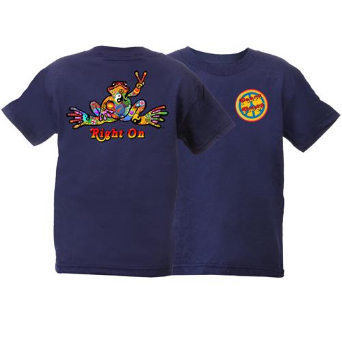 Peace Frogs Button Short Sleeve Kids T-Shirt