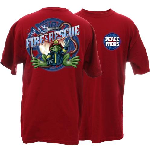 Peace Frogs Firefighter Short Sleeve Kids T-Shirt