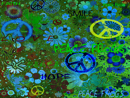 """""""Easy Being Green"""" - Peace Frogs Free Wallpaper Download"""