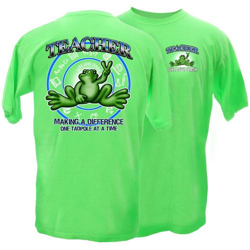 Peace Frogs Adult Teacher Short Sleeve T-Shirt