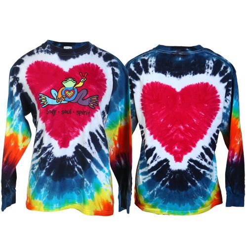 Peace Frogs Heart Tie Dye Adult Long Sleeve T-Shirt