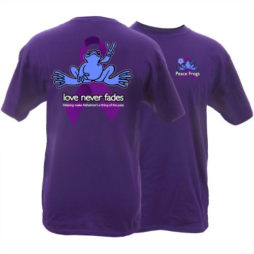 Peace Frogs Adult Alzheimer's Awareness Short Sleeve T-Shirt