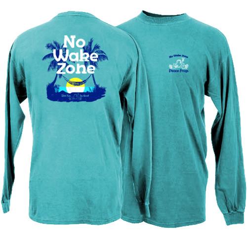 Peace Frogs No Wake Zone Frog Garment Dye Long Sleeve T-Shirt