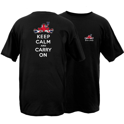 Peace Frogs Britain Keep Calm and Carry On Short Sleeve T-Shirt