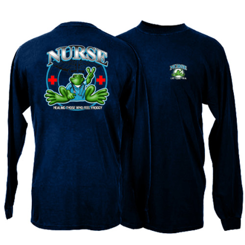 Peace Frogs Nurse Frog Adult Long Sleeve T-Shirt