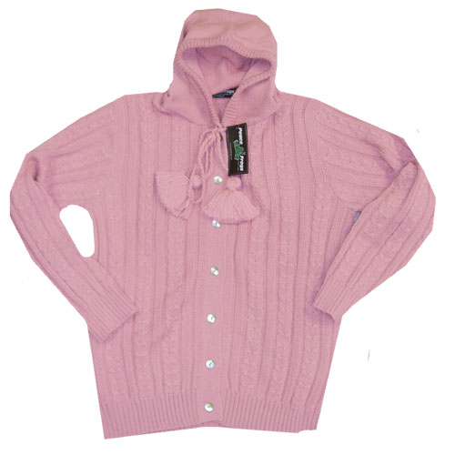 Peace Frogs Pink Full Button Hood Wool Sweater