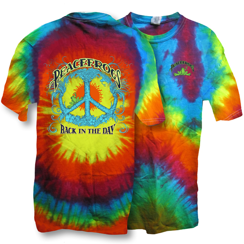 Peace Frogs Back in the Day Frog Spiral Tie Dye Short Sleeve T-Shirt