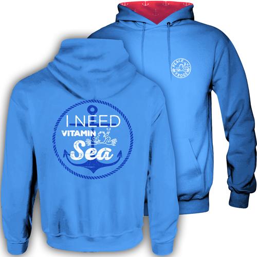 Peace Frogs Vitamin Sea Hood Lined Adult Pullover Sweatshirt