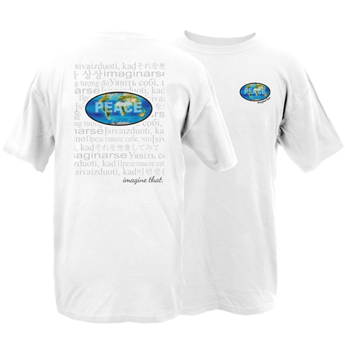 Beyond The Pond Adult World Peace Image That w/ Imagine That Collage Short Sleeve T-Shirt