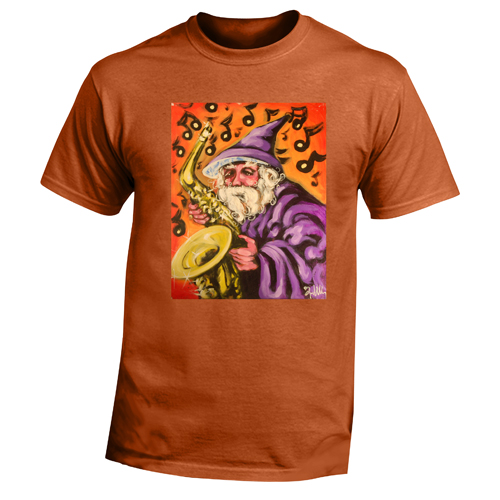 Beyond The Pond Adult Saxophonist Wizard Short Sleeve T-Shirt