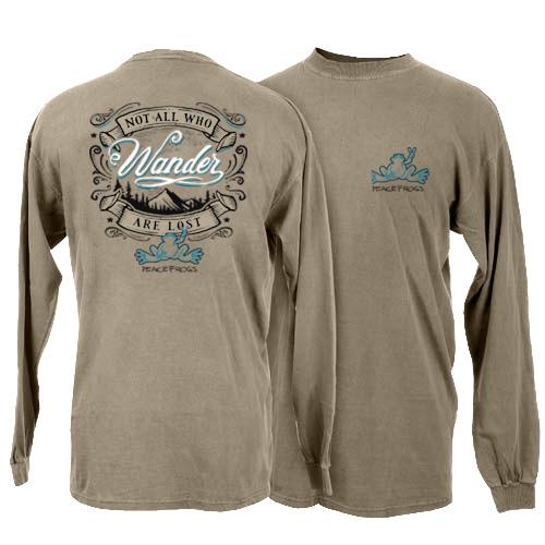 Peace Frogs Wander Adult Garment Dye Long Sleeve T-Shirt