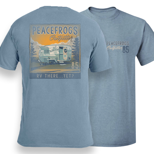 Peace Frogs Adult RV There Yet Frog Garmet Dye Short Sleeve T-Shirt