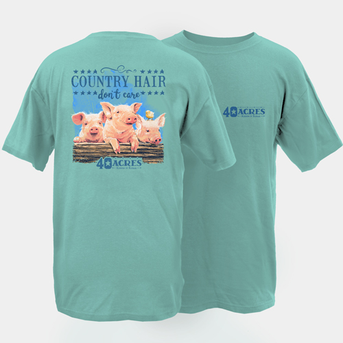 Fourty Acres Country Hair Don't Care Adult Short Sleeve T-Shirt
