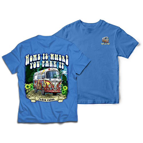 Peace Frogs Adult Home is Where You Park It Short Sleeve T-Shirt