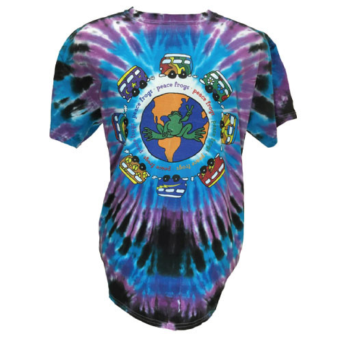 Peace Frogs Vans Around the World Burst Tie Dye Short Sleeve T-Shirt