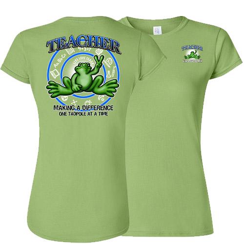 Peace Frogs Ladies Teacher Frog Short Sleeve T-Shirt