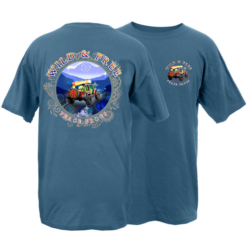 Peace Frogs Adult Wild and Free Frog Short Sleeve T-Shirt