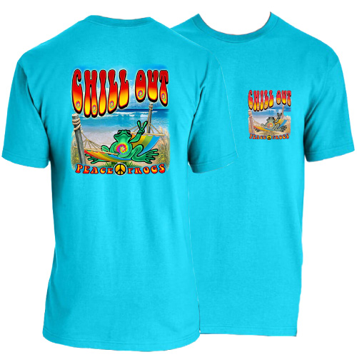 Peace Frogs Adult Chill Out Short Sleeve Garment Dye T-Shirt