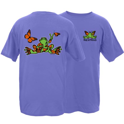 Peace Frogs Adult Monarch Butterfly Frog Short Sleeve T-Shirt