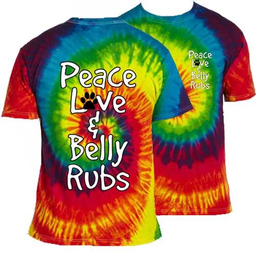 Peace Love Belly Rubs Tie Dye Short Sleeve T-Shirt