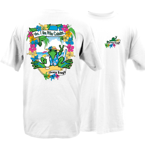 Peace Frogs I Like Pina Coladas Frog Short Sleeve T-Shirt