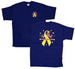 Peace Frogs Adult Yellow Ribbon Short Sleeve T-Shirt